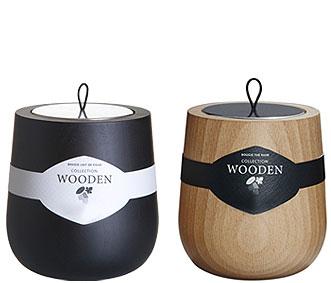 2 bougies parfum�es Wooden, noir et naturel