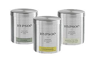 3 bougies parfumées dans leur boîtes métal  Hypsoé : Lounge, Coromandel, Pignon de Pin