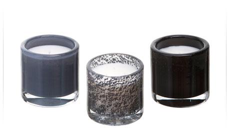 """3 bougies parfum�es Hypos� """"Storm"""" : gris orage, gris paillet�, noir"""
