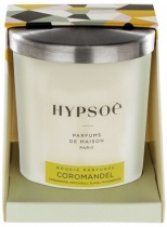 Hypsoé scented candles presented in a white frosted glass with a brushed aluminium lid. Cardboard box with the Hypsoé colors (yellow, black, ping, grey) Frangrance : coromandel
