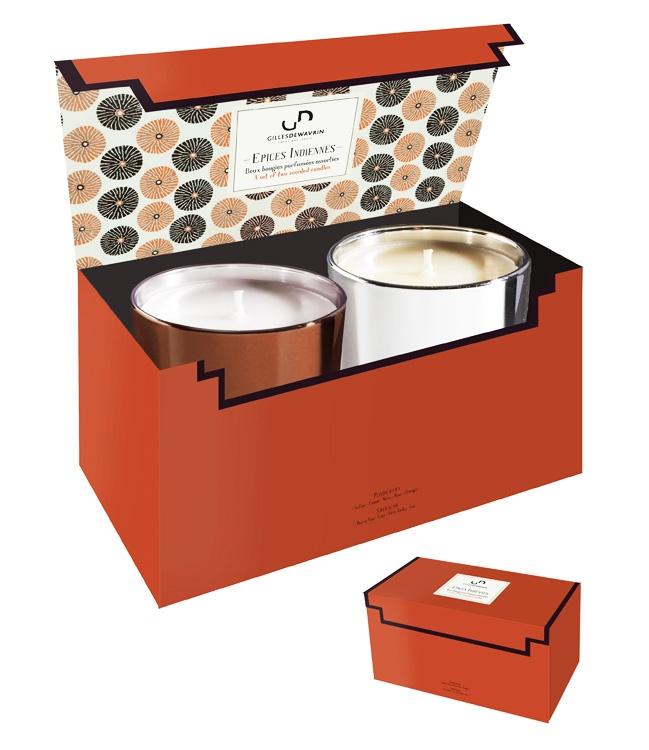 coffret 2 bougies parfum es pices indiennes. Black Bedroom Furniture Sets. Home Design Ideas