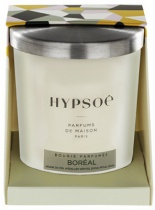 Hypsoé scented candles presented in a white frosted glass with a brushed aluminium lid. Cardboard box with the Hypsoé colors (yellow, black, ping, grey) Frangrance : boréal
