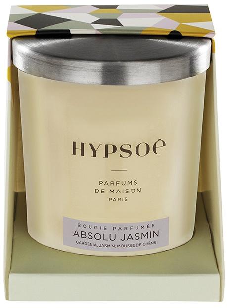 Bougie parfumée Hyposé dans son verre dépoli blanc avec un couvercle en aluminium brossé. Etui pelliculé brillant aux couleurs de la Maison Hypsoé (facettes jaune, gris, noir , rose) Senteur : absolu jasmin