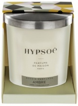 Hypsoé scented candles presented in a white frosted glass with a brushed aluminium lid. Cardboard box with the Hypsoé colors (yellow, black, ping, grey) Frangrance : ambre