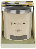 Bougie parfumée Hyposé dans son verre dépoli blanc avec un couvercle en aluminium brossé. Etui pelliculé brillant aux couleurs de la Maison Hypsoé (facettes jaune, gris, noir , rose) Senteur : havane