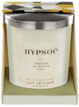 Hypsoé scented candles presented in a white frosted glass with a brushed aluminium lid. Cardboard box with the Hypsoé colors (yellow, black, ping, grey) Frangrance : lait de figue