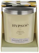 Bougie parfumée Hyposé dans son verre dépoli blanc avec un couvercle en aluminium brossé. Etui pelliculé brillant aux couleurs de la Maison Hypsoé (facettes jaune, gris, noir , rose) Senteur : madame claude