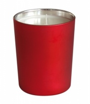 Bougie parfumée, verre métallisé mat rouge