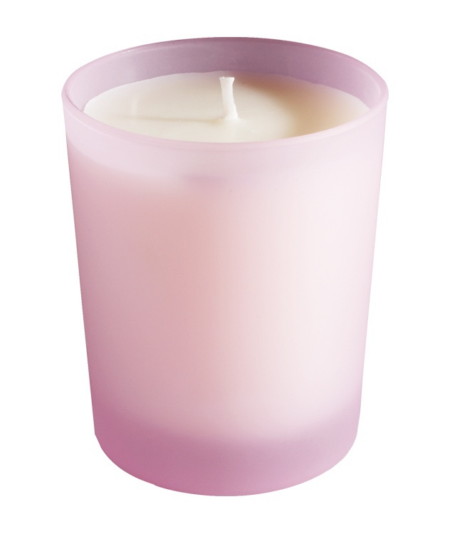 Scented candle, Pink frosted glass