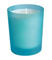 Scented candle, Turquoise frosted glass