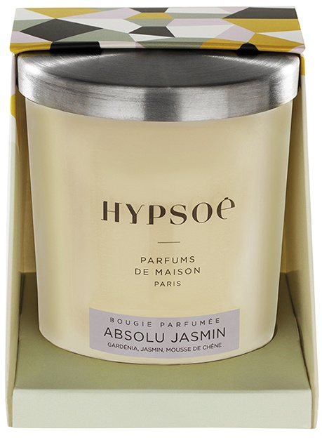 Hypsoé scented candles presented in a white frosted glass with a brushed aluminium lid. Cardboard box with the Hypsoé colors (yellow, black, ping, grey) Frangrance : absolu jasmin