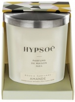 Hypsoé scented candles presented in a white frosted glass with a brushed aluminium lid. Cardboard box with the Hypsoé colors (yellow, black, ping, grey) Frangrance : amande