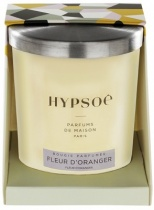 Hypsoé scented candles presented in a white frosted glass with a brushed aluminium lid. Cardboard box with the Hypsoé colors (yellow, black, ping, grey) Frangrance : fleur d'oranger