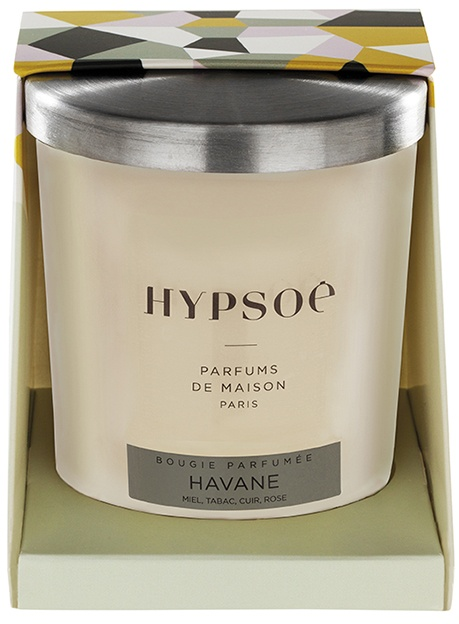 Hypsoé scented candles presented in a white frosted glass with a brushed aluminium lid. Cardboard box with the Hypsoé colors (yellow, black, ping, grey) Frangrance : havane