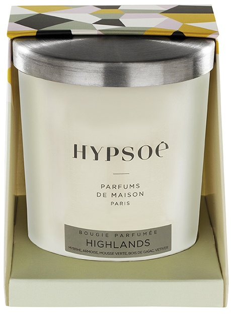 Hypsoé scented candles presented in a white frosted glass with a brushed aluminium lid. Cardboard box with the Hypsoé colors (yellow, black, ping, grey) Frangrance : highlands