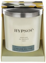 Hypsoé scented candles presented in a white frosted glass with a brushed aluminium lid. Cardboard box with the Hypsoé colors (yellow, black, ping, grey) Frangrance : l'heure du thé