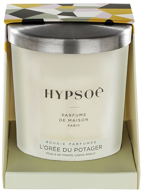 Hypsoé scented candles presented in a white frosted glass with a brushed aluminium lid. Cardboard box with the Hypsoé colors (yellow, black, ping, grey) Frangrance : l'orée du potager