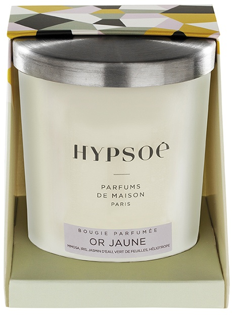 Hypsoé scented candles presented in a white frosted glass with a brushed aluminium lid. Cardboard box with the Hypsoé colors (yellow, black, ping, grey) Frangrance : or jaune