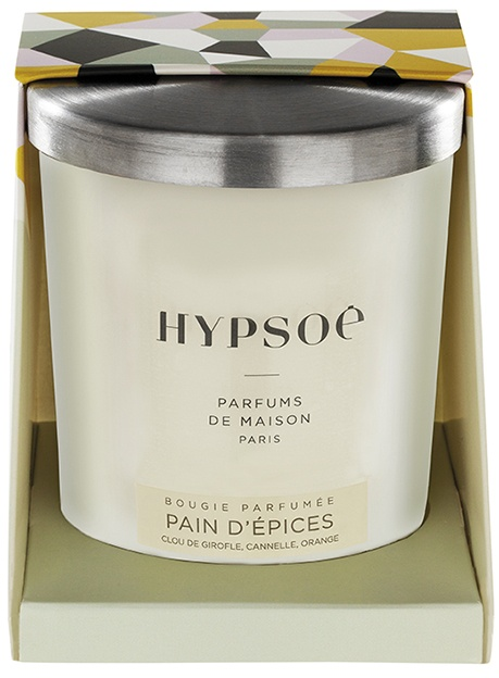 Hypsoé scented candles presented in a white frosted glass with a brushed aluminium lid. Cardboard box with the Hypsoé colors (yellow, black, ping, grey) Frangrance : pain d'épices