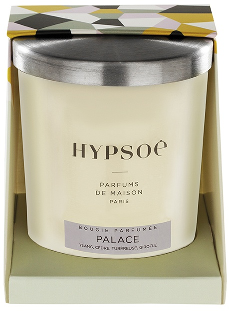 Hypsoé scented candles presented in a white frosted glass with a brushed aluminium lid. Cardboard box with the Hypsoé colors (yellow, black, ping, grey) Frangrance : palace