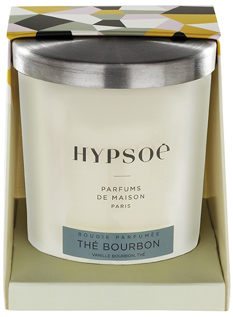 Hypsoé scented candles presented in a white frosted glass with a brushed aluminium lid. Cardboard box with the Hypsoé colors (yellow, black, ping, grey) Frangrance : thé bourbon