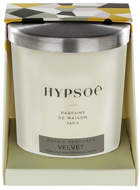 Hypsoé scented candles presented in a white frosted glass with a brushed aluminium lid. Cardboard box with the Hypsoé colors (yellow, black, ping, grey) Frangrance : velvet