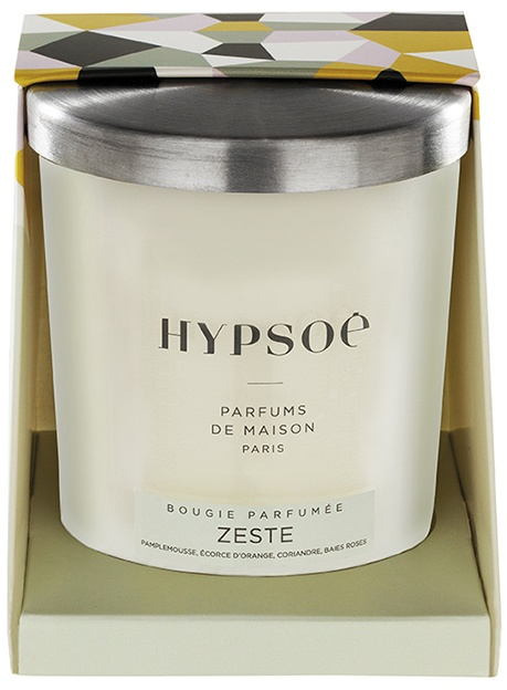 Hypsoé scented candles presented in a white frosted glass with a brushed aluminium lid. Cardboard box with the Hypsoé colors (yellow, black, ping, grey) Frangrance : zeste
